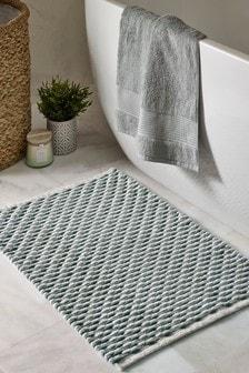 Sage Green Stripe Bath Mat
