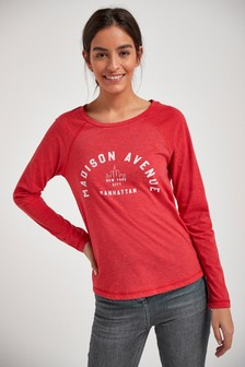 Red Madison Avenue Graphic Raglan Long Sleeve Top