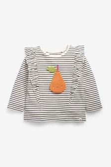 Monochrome Stripe Pear Long Sleeve T-Shirt (3mths-7yrs)