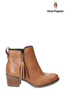 Hush Puppies Tan Georgie Zip Up Tassle Ankle Boots