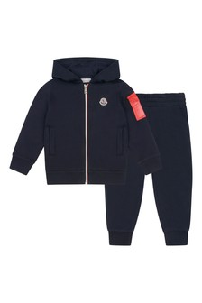Boys Navy Cotton Logo Print Tracksuit