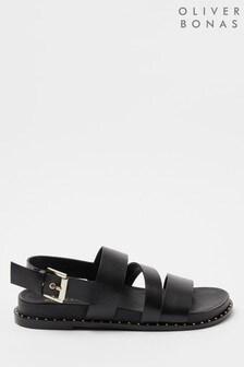 Oliver Bonas Black Leather Sandals