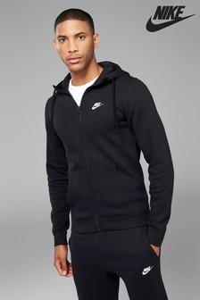 Black  Nike Club Zip Through Hoody