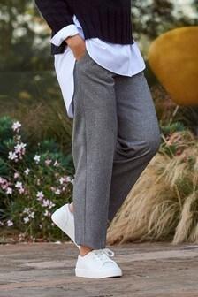 Grey Emma Willis Herringbone Straight Leg Trousers