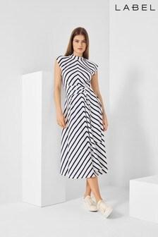 Label Stripe Jersey Dress