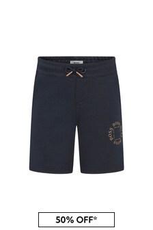 BOSS Boys Navy Cotton Shorts