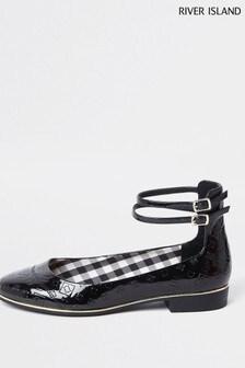 River Island Black Ankle Strap Ballet Shoes