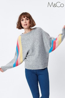 M&Co Grey Rainbow Stripe Jumper