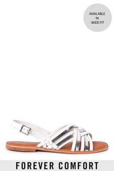 White/Silver Forever Comfort® Woven Slingback Sandals