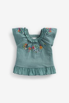 Teal Floral Embroidery Top (3mths-7yrs)