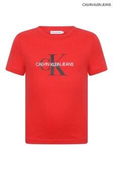 Calvin Klein Jeans Kids Red Organic Cotton Logo T-Shirt