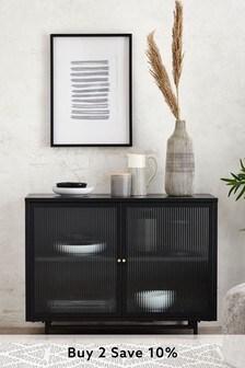 Black Metal Glazed Display Cabinet