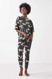 Monochrome Leopard Cotton Blend Legging Pyjama Set