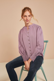 Lilac Shirred Long Sleeve Top