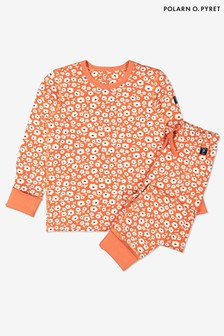 Polarn O. Pyret Orange Organic Cotton Floral Pyjamas