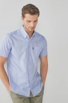 Pale Blue Regular Fit Short Sleeve Easy Iron Button Down Oxford Shirt
