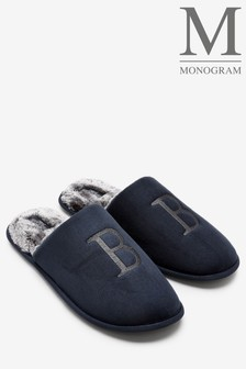 Navy Large Monogram Slippers