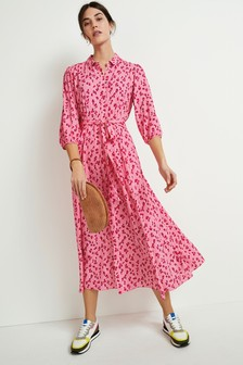 Pink Animal Belted Maxi Shirt Dress