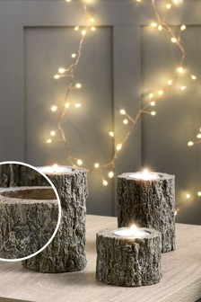 Set of 3 Log Tealight Holders