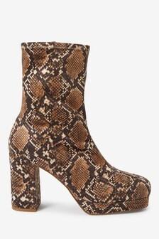 Snake Print Forever Comfort® Square Toe Platform Boots