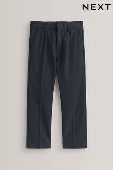 Navy Regular Waist Pleat Front Trousers (3-16yrs)