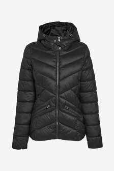 Black Shower Resistant Hooded Jacket With DuPont™ Sorona® Insulation