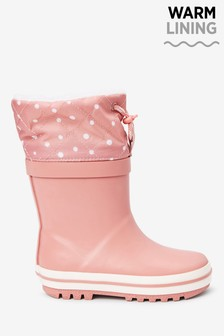 Pink Warm Lined Cuff Wellies (Younger)