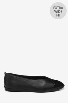 Black Extra Wide Fit Forever Comfort® Leather Ballerina Shoes