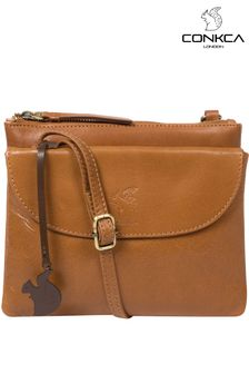 Conkca Tan Tillie Leather Cross Body Bag