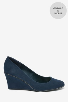 Navy Almond Toe Trim Detail Wedges