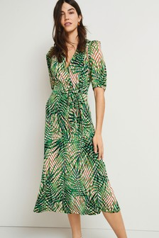 Green Palm Print Tier Front Midi Dress