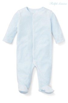 Ralph Lauren Blue Logo Velour Babygrow