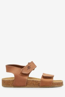 Tan Smart Leather Corkbed Sandals (Younger)