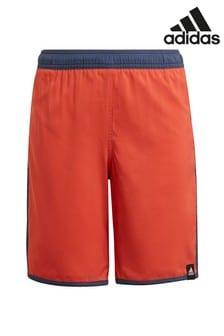 adidas Red 3 Stripe Swim Shorts