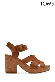 Toms Tan Leather Ava Sandals
