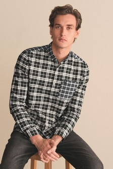 Black/White Mixed Check Stretch Oxford Shirt