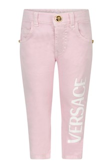 Baby Girls Pink Cotton Logo Trousers