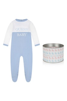 Baby Boys White/Pale Blue Cotton Babygrow