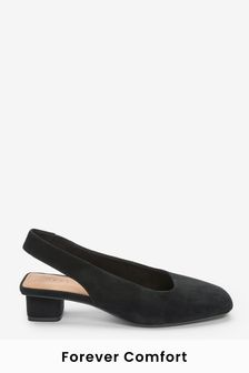 Black Extra Wide Fit Leather Slingback Block Heel Shoes