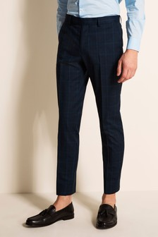 Moss London Slim Fit Blue Overcheck Trousers