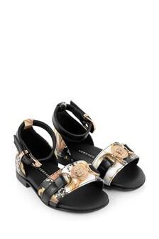 Girls Black & Gold Sandals