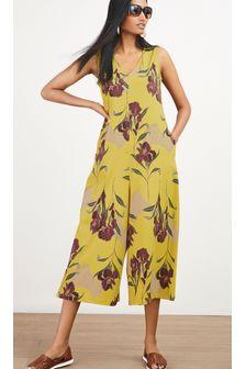 Yellow Floral Culotte Jumpsuit