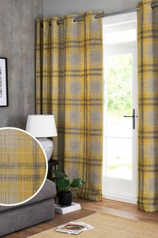 Astley Check Eyelet Lined Curtains