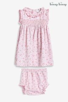 Kissy Kissy Pink Ditsy Floral Smocked Dress Set