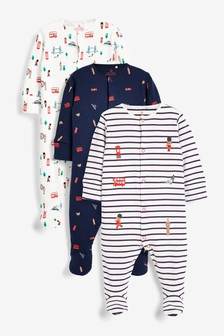 White/Blue/Red 3 Pack Bus Print Sleepsuits (0mths-2yrs)