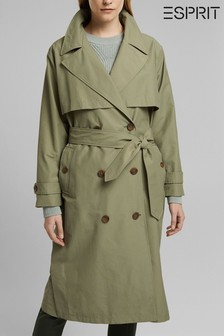 Esprit Green Belted Relax Trench Coat