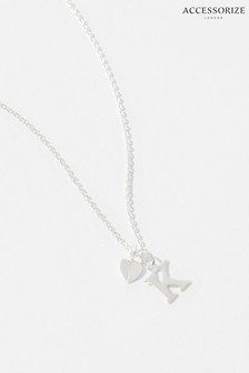 Accessorize Sterling Silver Heart Initial Necklace - K