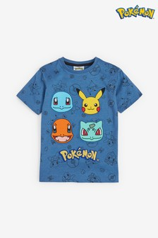 Blue Short Sleeve Pokémon Appliqué T-Shirt (3-16yrs)