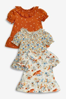Rust Unicorn 3 Pack Collar Tops (3mths-7yrs)
