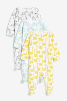 Multi Bright 3 Pack Sleepsuits (0-2yrs)